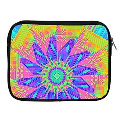 Neon Flower Purple Hot Pink Orange Apple Ipad Zippered Sleeve by CrypticFragmentsColors