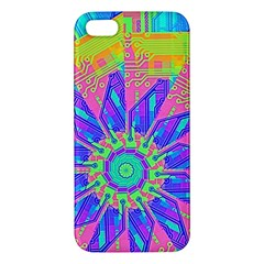 Neon Flower Purple Hot Pink Orange Iphone 5s Premium Hardshell Case by CrypticFragmentsColors