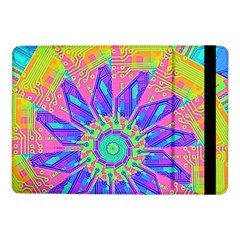 Neon Flower Purple Hot Pink Orange Samsung Galaxy Tab Pro 10 1  Flip Case by CrypticFragmentsColors