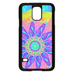 Neon Flower Purple Hot Pink Orange Samsung Galaxy S5 Case (black) by CrypticFragmentsColors