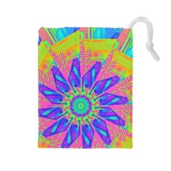 Neon Flower Purple Hot Pink Orange Drawstring Pouch (large)