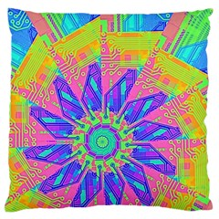 Neon Flower Purple Hot Pink Orange Large Flano Cushion Case (two Sides) by CrypticFragmentsColors