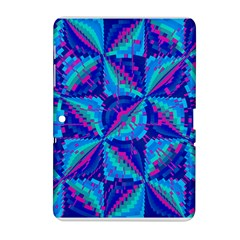 Hot Neon Pink Blue Triangles Samsung Galaxy Tab 2 (10.1 ) P5100 Hardshell Case  by CrypticFragmentsColors