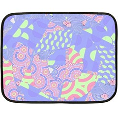Girls Bright Pastel Summer Design Blue Pink Green Double Sided Fleece Blanket (mini) by CrypticFragmentsColors