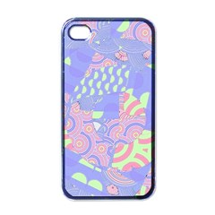Girls Bright Pastel Summer Design Blue Pink Green Apple Iphone 4 Case (black) by CrypticFragmentsColors