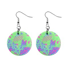 Tropical Neon Green Purple Blue 1  Button Earrings by CrypticFragmentsColors