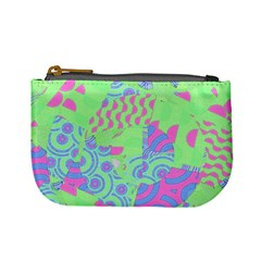 Tropical Neon Green Purple Blue Mini Coin Purse