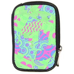 Tropical Neon Green Purple Blue Compact Camera Leather Case by CrypticFragmentsColors