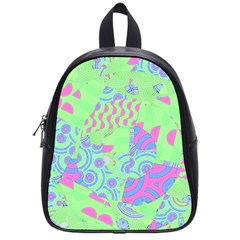 Tropical Neon Green Purple Blue School Bag (small) by CrypticFragmentsColors