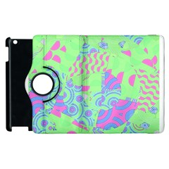 Tropical Neon Green Purple Blue Apple Ipad 2 Flip 360 Case by CrypticFragmentsColors