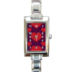 Galaxy Hearts Grunge Style Pattern Rectangular Italian Charm Watch by dflcprints