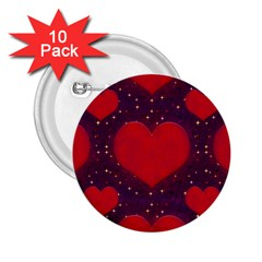Galaxy Hearts Grunge Style Pattern 2 25  Button (10 Pack) by dflcprints