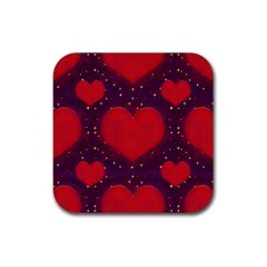 Galaxy Hearts Grunge Style Pattern Drink Coaster (square) by dflcprints