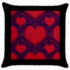 Galaxy Hearts Grunge Style Pattern Black Throw Pillow Case by dflcprints