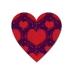 Galaxy Hearts Grunge Style Pattern Magnet (heart) by dflcprints