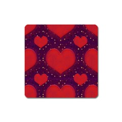 Galaxy Hearts Grunge Style Pattern Magnet (square) by dflcprints