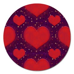 Galaxy Hearts Grunge Style Pattern Magnet 5  (round) by dflcprints