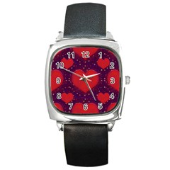 Galaxy Hearts Grunge Style Pattern Square Leather Watch by dflcprints