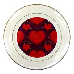Galaxy Hearts Grunge Style Pattern Porcelain Display Plate by dflcprints