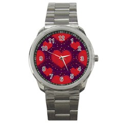 Galaxy Hearts Grunge Style Pattern Sport Metal Watch by dflcprints