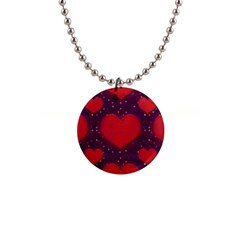 Galaxy Hearts Grunge Style Pattern Button Necklace by dflcprints