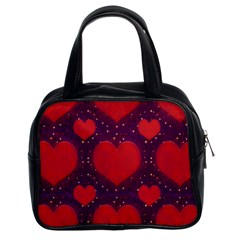 Galaxy Hearts Grunge Style Pattern Classic Handbag (two Sides) by dflcprints