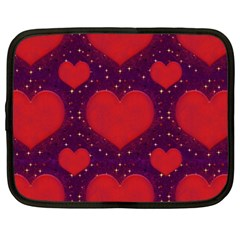 Galaxy Hearts Grunge Style Pattern Netbook Sleeve (xxl) by dflcprints