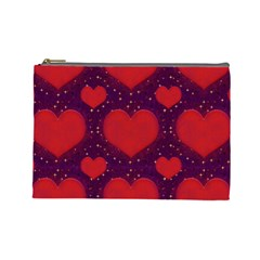 Galaxy Hearts Grunge Style Pattern Cosmetic Bag (large) by dflcprints