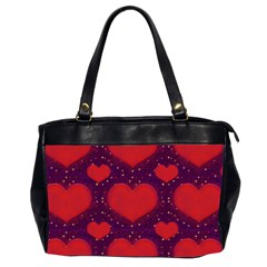Galaxy Hearts Grunge Style Pattern Oversize Office Handbag (two Sides) by dflcprints