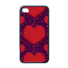 Galaxy Hearts Grunge Style Pattern Apple Iphone 4 Case (black) by dflcprints