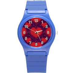 Galaxy Hearts Grunge Style Pattern Plastic Sport Watch (small) by dflcprints