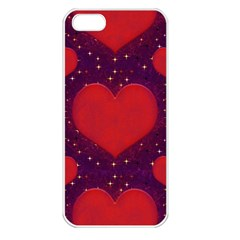 Galaxy Hearts Grunge Style Pattern Apple Iphone 5 Seamless Case (white) by dflcprints