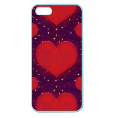 Galaxy Hearts Grunge Style Pattern Apple Seamless Iphone 5 Case (color) by dflcprints