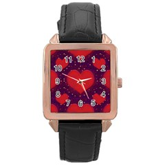 Galaxy Hearts Grunge Style Pattern Rose Gold Leather Watch  by dflcprints