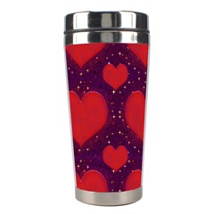 Galaxy Hearts Grunge Style Pattern Stainless Steel Travel Tumbler by dflcprints