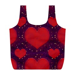 Galaxy Hearts Grunge Style Pattern Reusable Bag (l) by dflcprints