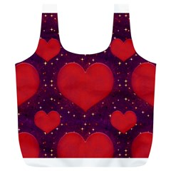 Galaxy Hearts Grunge Style Pattern Reusable Bag (xl) by dflcprints