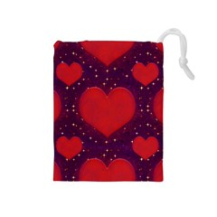 Galaxy Hearts Grunge Style Pattern Drawstring Pouch (medium) by dflcprints