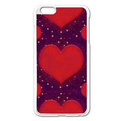Galaxy Hearts Grunge Style Pattern Apple Iphone 6 Plus Enamel White Case by dflcprints