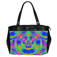 Neon Abstract Circles Oversize Office Handbag (Two Sides) by CrypticFragmentsColors