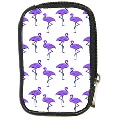 Flamingo Neon Purple Tropical Birds Compact Camera Leather Case by CrypticFragmentsColors