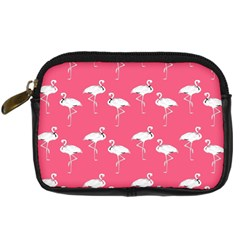 Flamingo White On Pink Pattern Digital Camera Leather Case by CrypticFragmentsColors