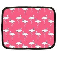 Flamingo White On Pink Pattern Netbook Sleeve (xl) by CrypticFragmentsColors