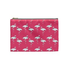 Flamingo White On Pink Pattern Cosmetic Bag (medium) by CrypticFragmentsColors