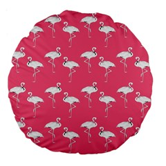 Flamingo White On Pink Pattern 18  Premium Flano Round Cushion