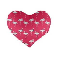 Flamingo White On Pink Pattern 16  Premium Flano Heart Shape Cushion  by CrypticFragmentsColors