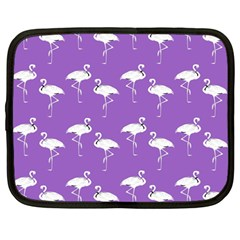 Flamingo White On Lavender Pattern Netbook Sleeve (large) by CrypticFragmentsColors