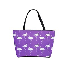 Flamingo White On Lavender Pattern Large Shoulder Bag by CrypticFragmentsColors