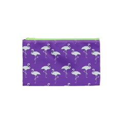 Flamingo White On Lavender Pattern Cosmetic Bag (xs) by CrypticFragmentsColors