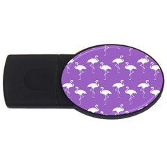 Flamingo White On Lavender Pattern 2gb Usb Flash Drive (oval) by CrypticFragmentsColors